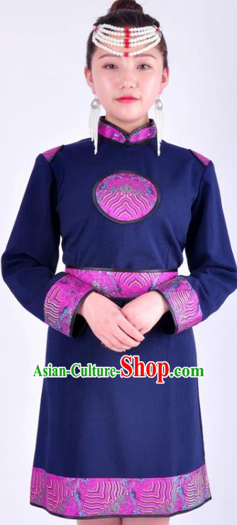Chinese Mongol Nationality Costume Traditional Mongolian Minority Navy Dress for Women