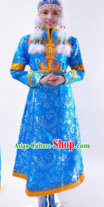 Chinese Mongol Nationality Wedding Costume Blue Mongolian Dress Traditional Mongolian Minority Clothing for Women