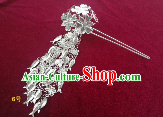 Chinese Traditional Miao Nationality Hair Accessories, Hmong Sliver Fishes Tassel Flowers Hairpins Headwear for Women