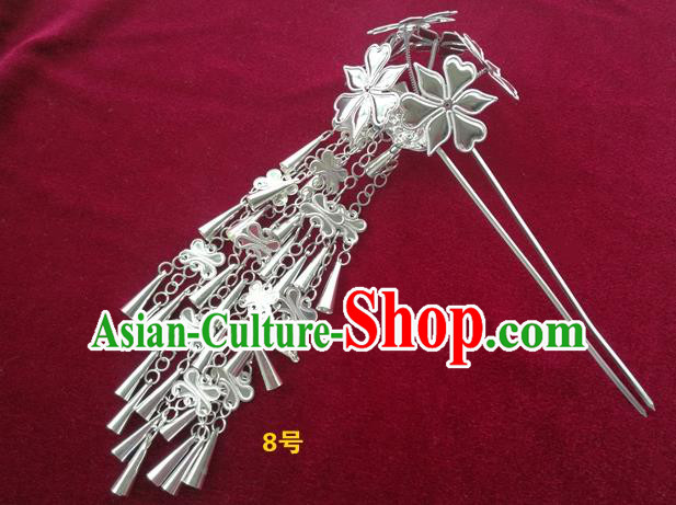 Chinese Traditional Miao Nationality Hair Accessories, Hmong Sliver Bells Tassel Flowers Hairpins Headwear for Women