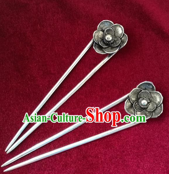 Chinese Traditional Miao Nationality Hair Accessories Hair Clip, Hmong Sliver Hairpins Headwear for Women