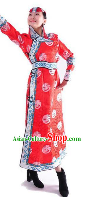 Chinese Mongol Nationality Folk Dance Costume Traditional Red Mongolian Robe for Women