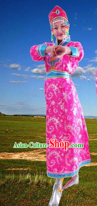 Chinese Mongol Nationality Folk Dance Costume Traditional Rosy Mongolian Robe for Women