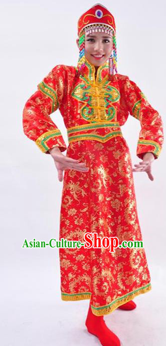 Chinese Mongol Nationality Folk Dance Costume Traditional Minority Red Mongolian Robe for Women
