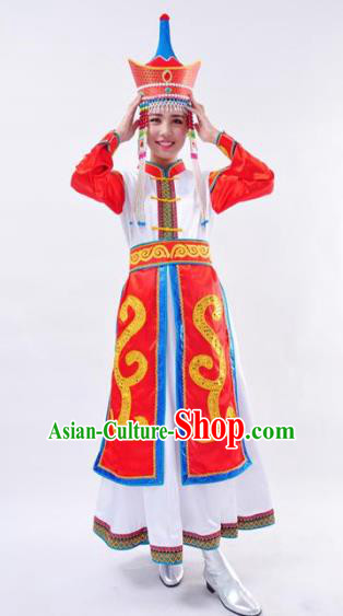 Chinese Mongol Nationality Folk Dance Costume Traditional Mongolian Minority Wedding Dress for Women