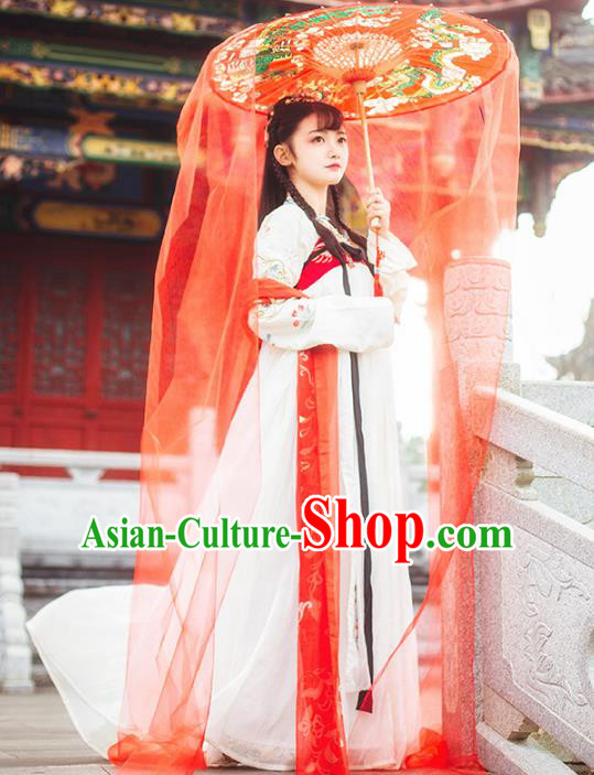 Ancient Chinese Fairy Costume Tang Dynasty Princess Embroidered Hanfu Dress for Women