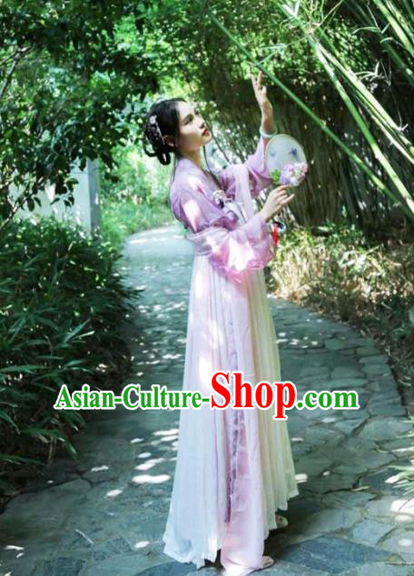 Ancient Chinese Palace Lady Costume Tang Dynasty Court Maid Embroidered Hanfu Dress for Women