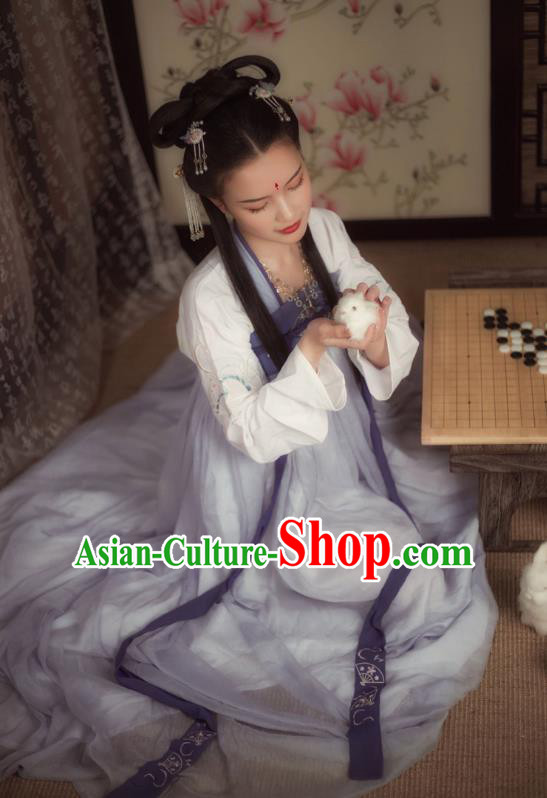 Ancient Chinese Palace Princess Costume Tang Dynasty Maidenform Embroidered Hanfu Dress for Women