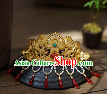 Chinese Ancient Handmade Lotus Hair Coronet Classical Hair Accessories Hanfu Hairpins for Women