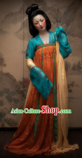 Chinese Ancient Imperial Consort Embroidered Costume Traditional Tang Dynasty Maidenform Hanfu Dress for Women