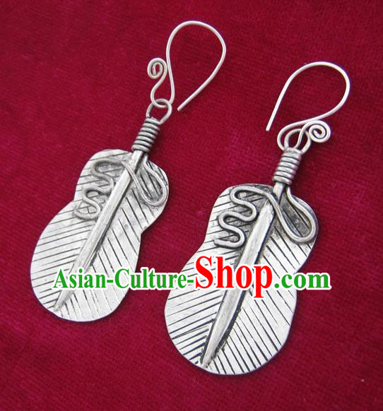 Chinese Handmade Miao Nationality Sliver Jewelry Accessories Hmong Palm-leaf Fan Earrings for Women