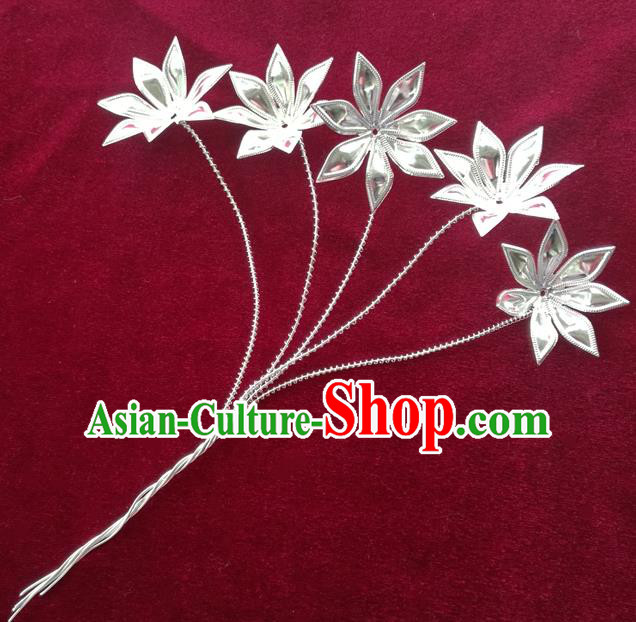 Chinese Traditional Miao Nationality Hair Accessories Hmong Sliver Flowers Hairpins Headwear for Women
