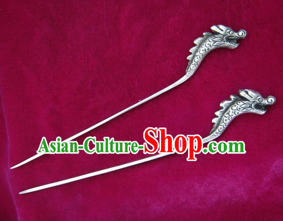 Chinese Traditional Miao Nationality Hair Accessories Hmong Sliver Dragon Hairpins Headwear for Women