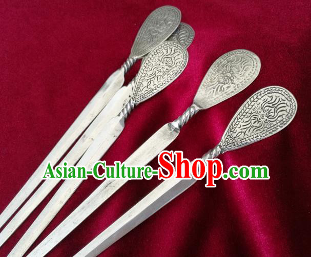 Chinese Traditional Miao Nationality Hair Accessories Flowers Hair Comb Hmong Carving Sliver Hairpins for Women