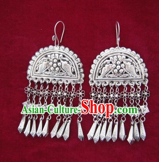 Chinese Handmade Miao Nationality Jewelry Accessories Hmong Sliver Carving Birds Earrings for Women
