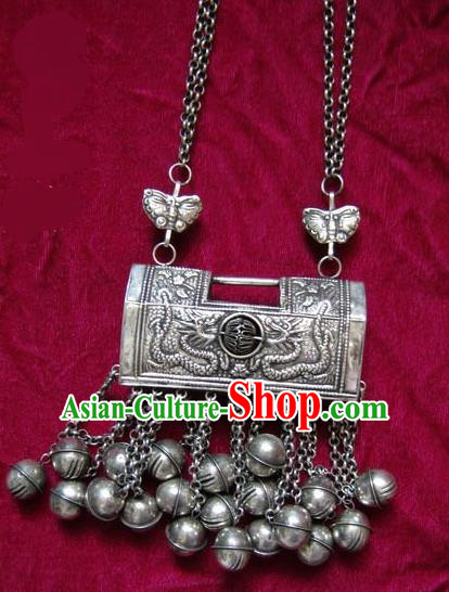 Chinese Miao Nationality Ornaments Longevity Lock Traditional Hmong Handmade Sliver Necklace for Women