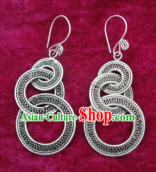 Chinese Handmade Miao Nationality Earbob Jewelry Accessories Hmong Sliver Earrings for Women