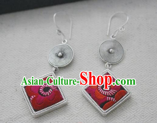 Chinese Handmade Miao Nationality Jewelry Accessories Embroidered Earbob Hmong Earrings for Women