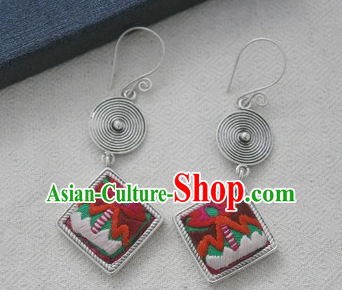 Chinese Handmade Miao Nationality Embroidered Jewelry Accessories Earbob Hmong Earrings for Women