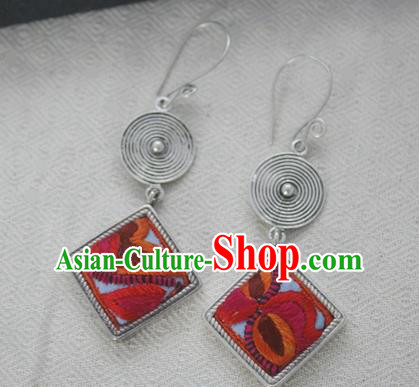 Chinese Handmade Miao Nationality Jewelry Accessories Sliver Red Embroidered Earbob Hmong Earrings for Women