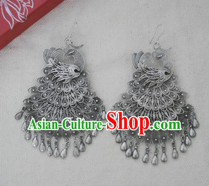 Chinese Handmade Miao Nationality Jewelry Accessories Sliver Phoenix Earrings for Women