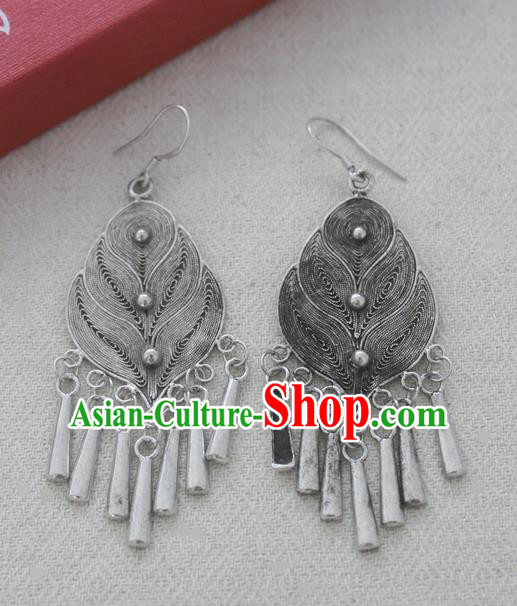 Chinese Handmade Miao Nationality Jewelry Accessories Sliver Earrings for Women
