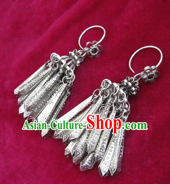 Chinese Handmade Miao Nationality Sliver Jewelry Accessories Hmong Earrings for Women