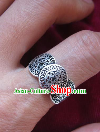 Chinese Miao Nationality Ornaments Traditional Hmong Handmade Sliver Ring for Women