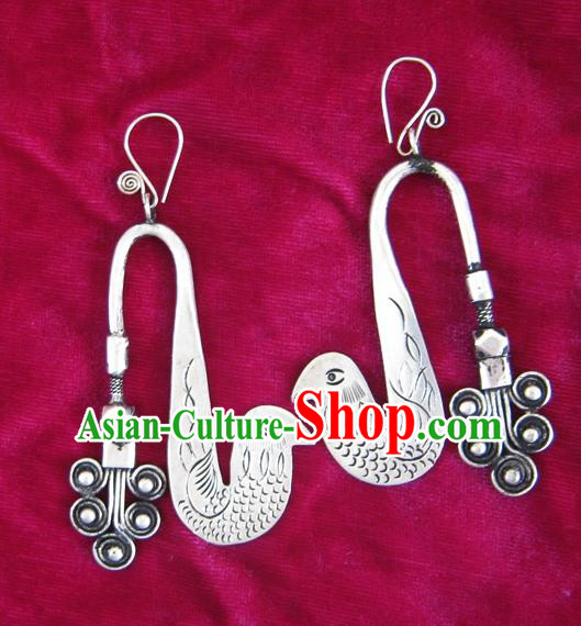 Chinese Handmade Miao Nationality Jewelry Accessories Sliver Peacock Earrings for Women