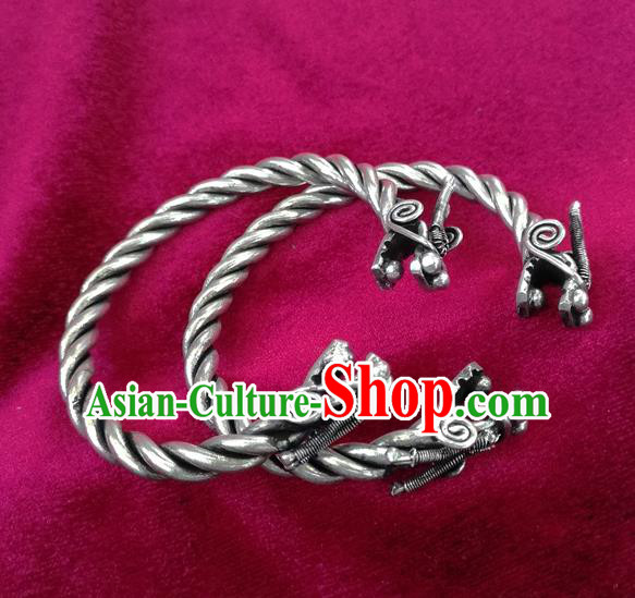 Chinese Miao Nationality Ornaments Sliver Accessories Traditional Hmong Dragon Head Bracelet for Women