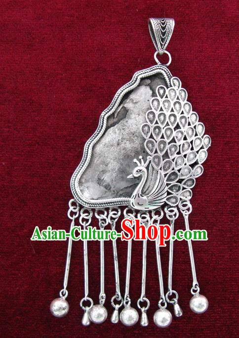 Chinese Miao Nationality Ornaments Sliver Accessories Traditional Hmong Peacock Pendant for Women