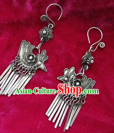 Chinese Handmade Miao Nationality Eardrop Jewelry Accessories Hmong Sliver Phoenix Earrings for Women
