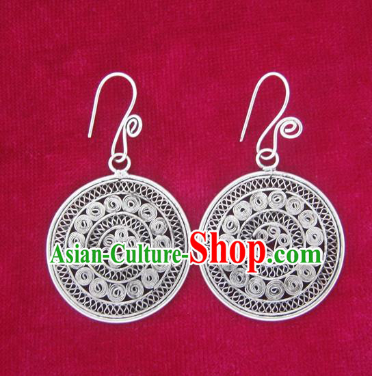 Chinese Handmade Miao Nationality Eardrop Hmong Sliver Earrings for Women