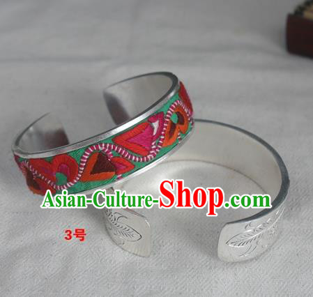 Chinese Miao Nationality Ornaments Sliver Bracelet Traditional Hmong Embroidered Green Bangle for Women