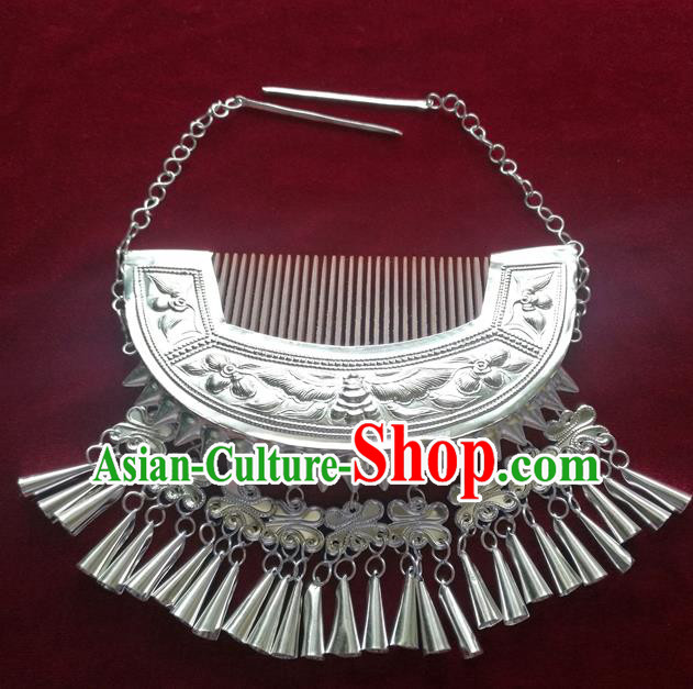 Chinese Traditional Miao Nationality Wedding Hair Comb Hair Accessories Hanfu Sliver Hairpins for Women