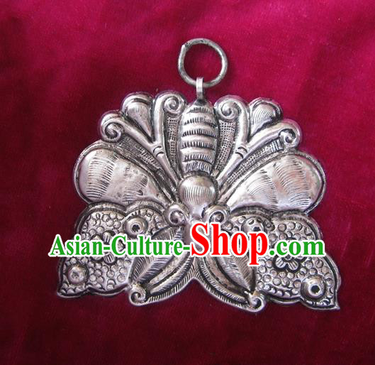 Chinese Miao Nationality Ornaments Sliver Butterfly Pendant Traditional Hmong Necklace for Women