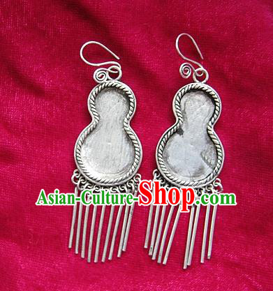 Chinese Handmade Miao Sliver Calabash-shaped Eardrop Hmong Nationality Tassel Earrings for Women