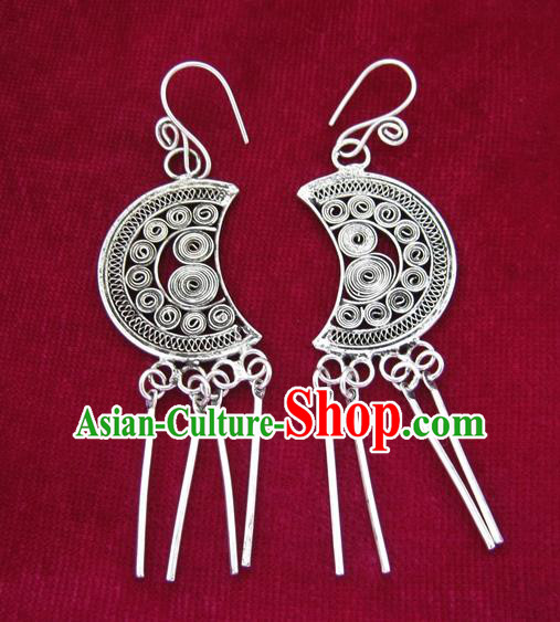 Chinese Handmade Miao Sliver Moon Eardrop Hmong Nationality Earrings for Women