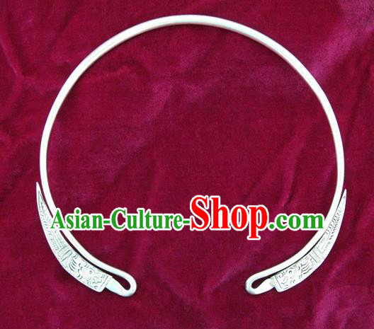 Chinese Miao Sliver Ornaments Carving Necklace Traditional Hmong Necklet Accessories for Women