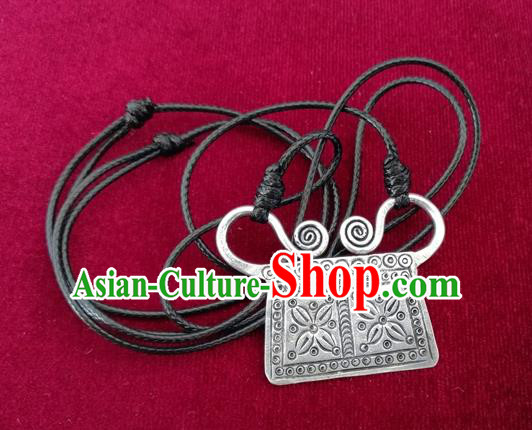 Chinese Miao Sliver Ornaments Carving Necklace Traditional Hmong Necklet Pendant for Women