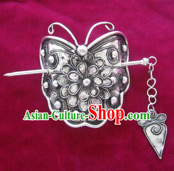 Traditional Chinese Miao Nationality Sliver Butterfly Hairdo Crown Hanfu Hairpins Hair Accessories for Women