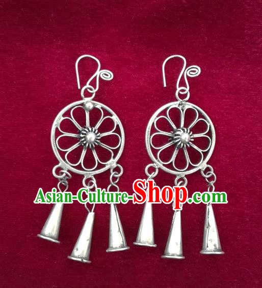 Chinese Handmade Miao Sliver Trumpet Eardrop Hmong Nationality Earrings for Women