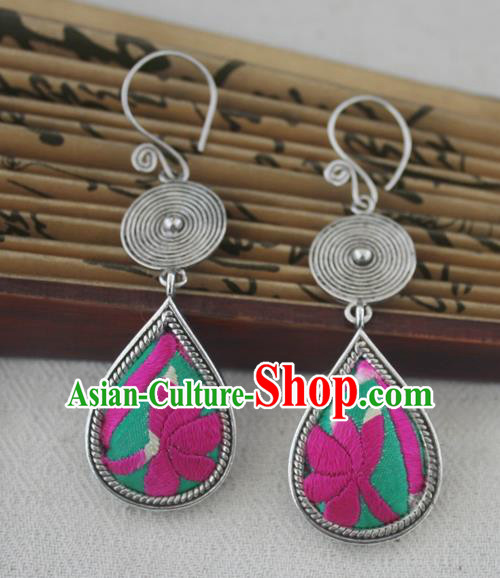 Chinese Handmade Miao Sliver Eardrop Hmong Nationality Embroidered Pink Lotus Earrings for Women