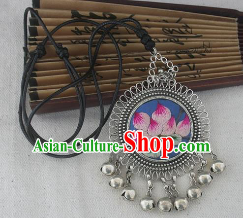 Chinese Miao Sliver Ornaments Embroidered Lotus Blue Necklace Hmong Handmade Necklet Pendant for Women