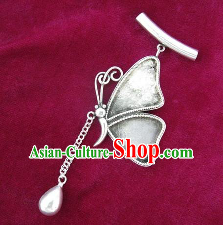 Chinese Miao Nationality Ornaments Sliver Butterfly Pendant Traditional Hmong Necklace Accessories for Women