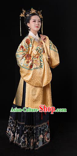 Traditional Chinese Ming Dynasty Palace Empress Embroidered Costume Ancient Queen Hanfu Dress for Women