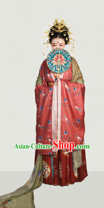 Chinese Tang Dynasty Queen Embroidered Costume Traditional Ancient Imperial Empress Hanfu Dress for Women
