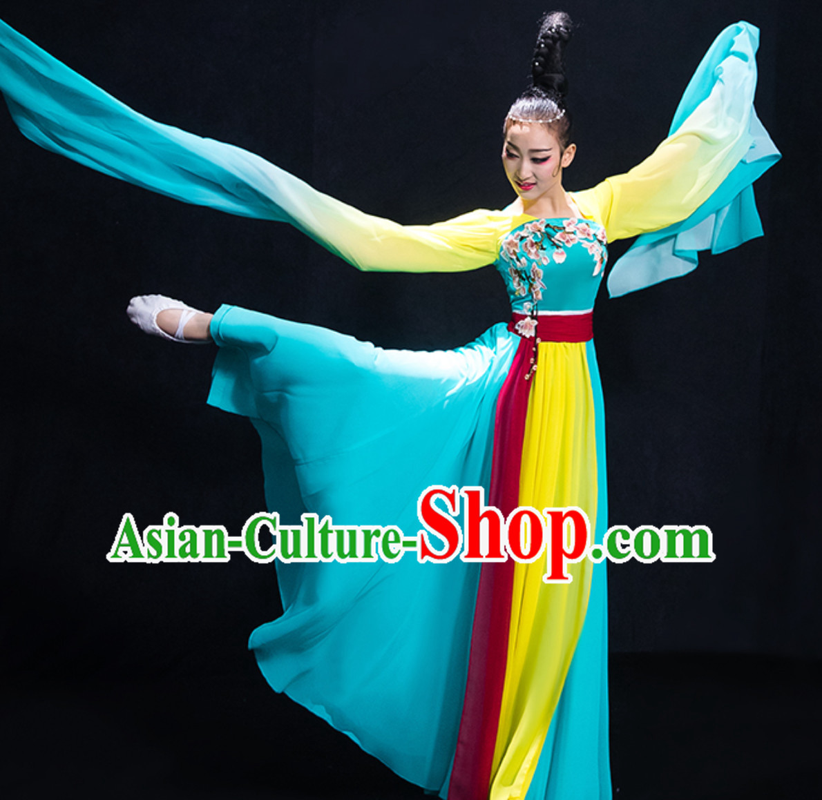 Chinese Ancient Palace Lady Dancing Costume Classical Dance Costumes and Hair Jewelry Complete Set