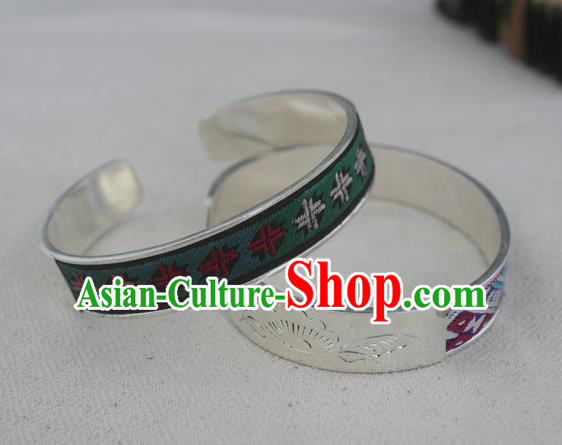 Chinese Miao Sliver Ornaments Bracelet Traditional Hmong Handmade Embroidered Green Sliver Bangle for Women