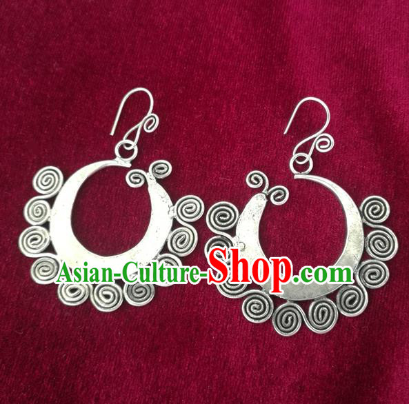Chinese Miao Sliver Ornaments Sliver Earrings Traditional Hmong Handmade Eardrop for Women